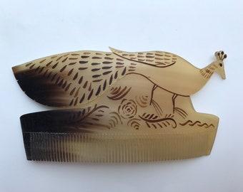 Antique mexican comb, peacock.