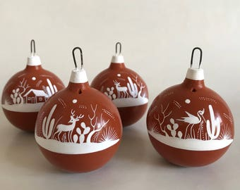 SPECIAL PRICE Hand painted christmas ornaments. Set of 4.