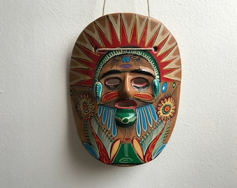 Hand painted mexican clay mask.