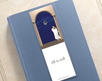 Angel inspirational bookmark, stocking stuffer, small gift, christian gifts, mystical item, mystical gift, digital art, stocking stuffer