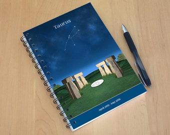 Taurus spiral notebook, Taurus gift, personalized gift, birthday gift, dream journal, aurus constellation, birthday present, astrology gift
