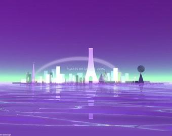 Crystal City, scifi art, fantasy art, mystical art print, scifi art, futuristic art, visionary art,  gifts for kids, cityscape, unique gift