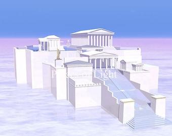 Acropolis of the Heavens, digital art print, mystical item, Greece art, visionary art, classical architecture, art pictures, Parthenon