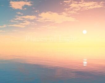Visionary art, mystical art, ocean scene, digital art print, wall art, mystical print, sunset, beautiful scene, spiritual art, meditation