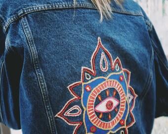 """Hand Embroidered """"Eye Mandala"""" Jacket"""