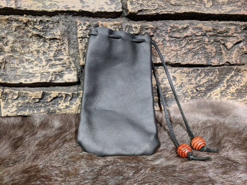 Leather Drawstring Coin Pouch