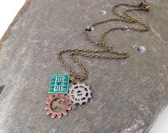 Steampunk Gear & Circuit Board Necklace, Mixed Media Pendant, 18 Inch Antique Brass Chain, Geek Gift Cosplay Computer Programmer Engineer