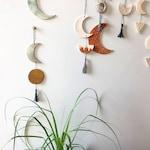 Ochre & Gray Ceramic Moon Wall Hanging