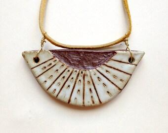 Sun Rays Ceramic Etched Pendant Necklace Buckskin Cord