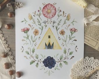 Midsommar Cottagecore Watercolor Print