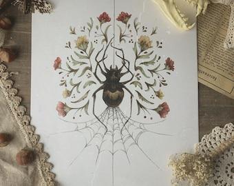 Spider Cottagecore Watercolor Print