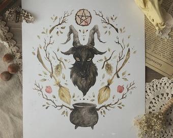 Black Phillip VVitch Cottagecore Watercolor Print