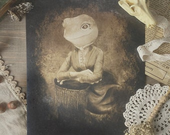 Victorian Frog Portrait Cottagecore Print