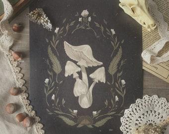 Dark Mushroom Cottagecore Print