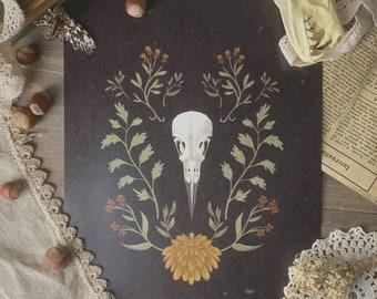 Dark Bird Skull Cottagecore Print