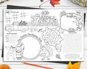 Thanksgiving Printable Placemats / Activity Placemat / Digital Download Kids Thanksgiving Activity Page INSTANT DOWNLOAD