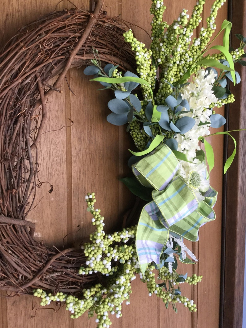 Gift Front Door Wreath Spring Wreath Eucalyptus Wreath Farmhouse Wreath Cottage Wreath