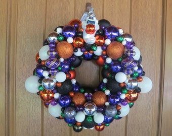 Halloween Ornament Wreath, Halloween Decor, Ghost Ornament Wreath, Ghostly Decor