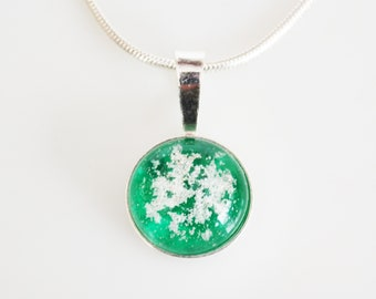 Cremation Jewelry made with Pet ashes-The Charlotte Pendant-Sterling Silver small pendant with ashes fused in glass