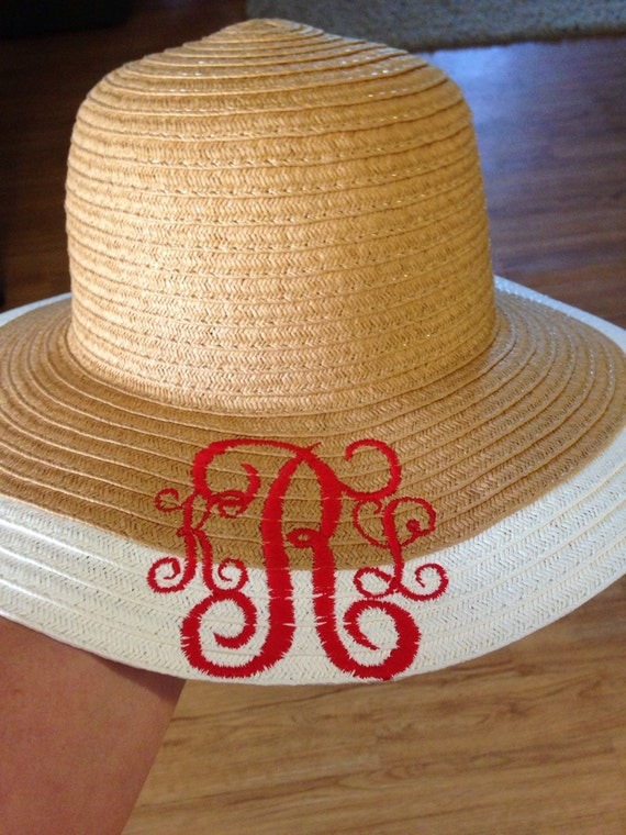 Monogrammed sun hat Cute floppy hat. Embroidered initials.  ace44b66497