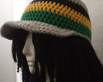 feb19211441 Custom Jamaican Stripe Baseball Hat    Crochet Hats    OOAK Unisex Fitted  Caps    Kwanzaa Gifts