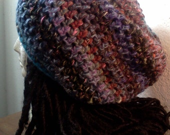 Urban Nightlife Slouchy Hat // Crochet Tams // OOAK Rasta Beanie Hats // Holiday Gifts // Christmas Gifts