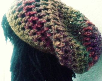 "The ""Think Twice"" Dread Tam // Crochet Tams // OOAK Slouchy Boho Rasta Hats"