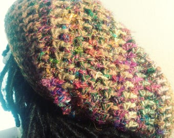 The Ghetto Bohemian Patchwork Drawstring Tam // Crochet Tams // Boho Hats // OOAK Slouchy Rasta Hats // Holiday Gifts // Christmas Gifts