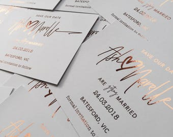 Rose Gold Foil // Wedding, Save The Date, Engagement Invite, Watercolour, Watercolor, Foil, Baptism, Christening, Birthday, Bridal Shower