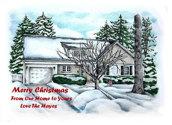 Christmas House Drawing.Christmas Card House Portrait Holiday Card House Drawing House Portrait House Drawing House Sketch
