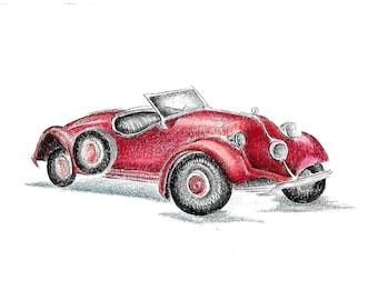 Custom Car drawing / Car sketch / Car illustration / Car portrait