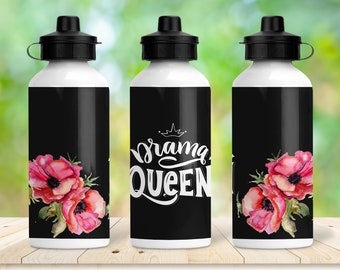 20oz Drama Queen Water Bottle, Women's Water Bottle, Funny Lady's Water Bottle, Sublimation Water Bottle