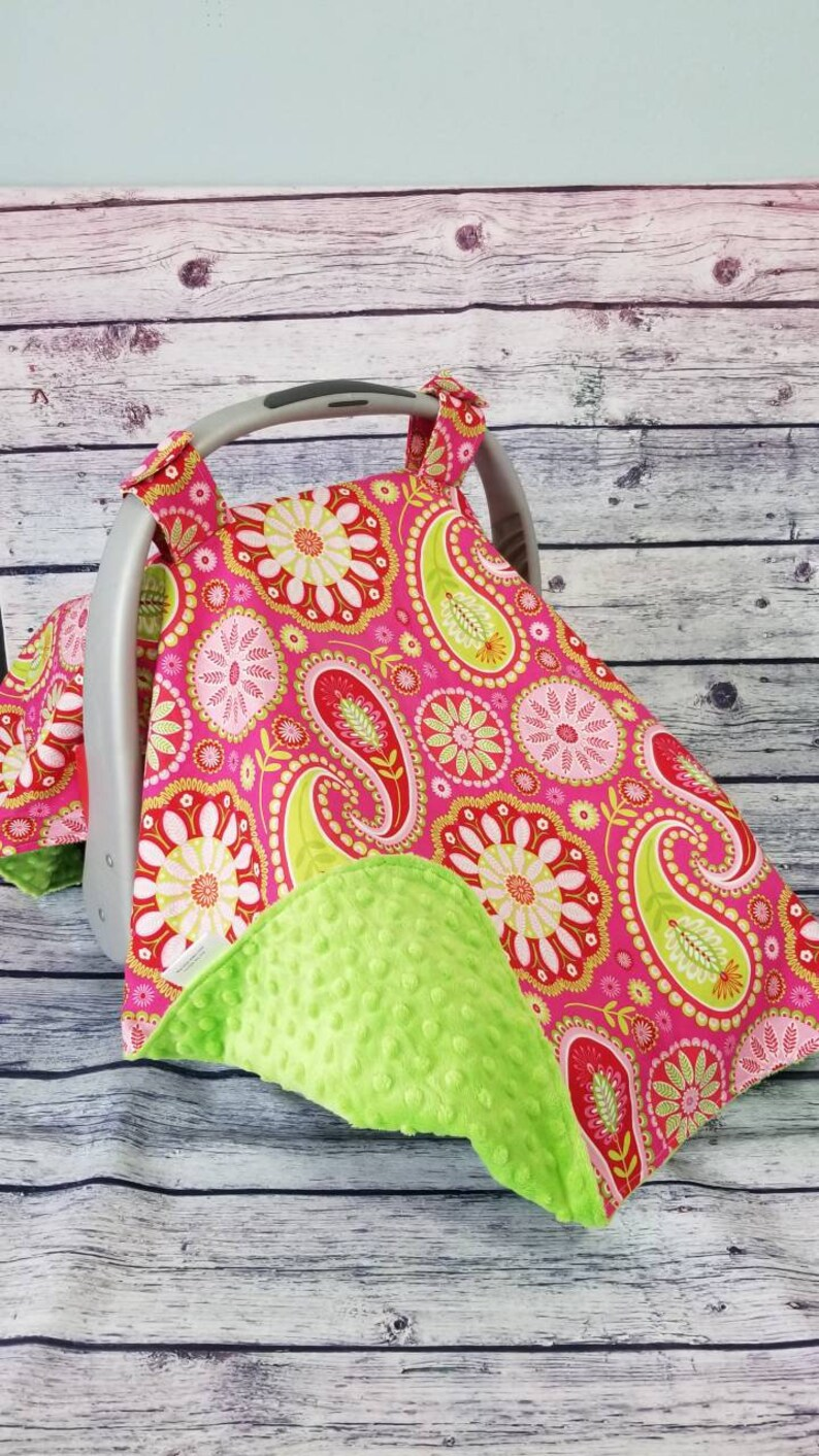 Ready to Ship Girl Car seat Canopy, Girl Car Seat Canopy, Pink and Lime  Green Carseat Cover, Paisley Car seat cover, Bright car seat canopy