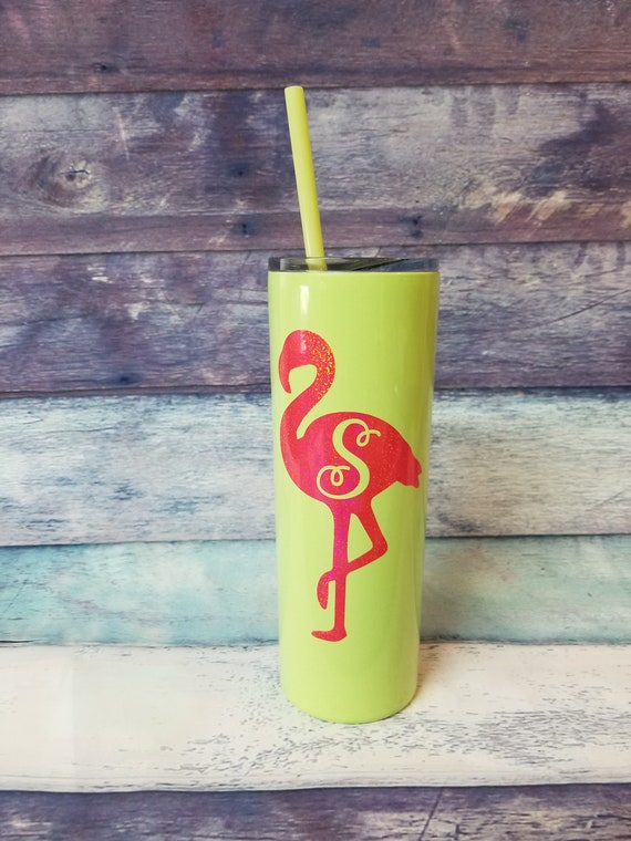 Custom Stainless Steel Straw Tumbler Flamingo Tumbler  cf481a4e54