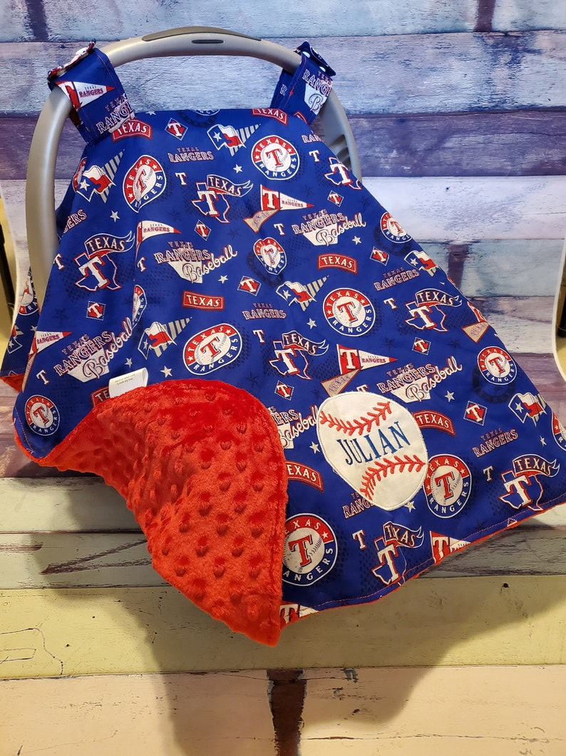 Texas Rangers Car Seat Canopy Mlb Carseat Rangers Carseat Etsy
