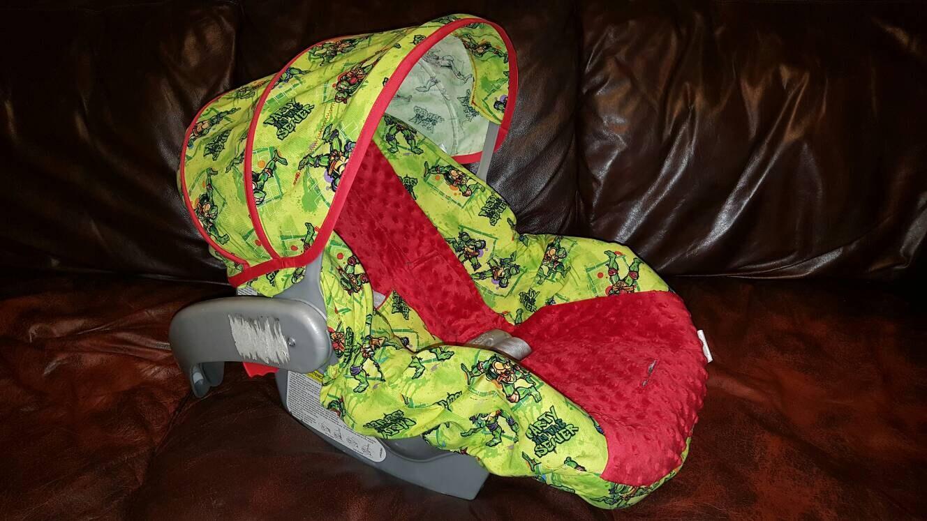 Ready To Ship TMNT Car Seat Cover Ninja Turtles Carseat Slip Baby Gift Custom