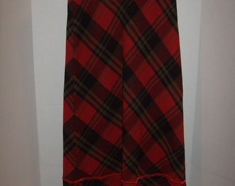 Britches Great Outdoors Red/Grey Wool Skirt Bias Plaid Size 6 Fully Lined