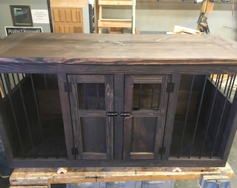 Dog Kennel, Double Dog Crate, Tv Console, Pet Furniture, Entertainment  Center, Custom