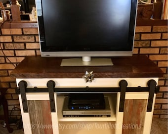 Night Stand Tv Console End Table Barn Door Rustic Etsy