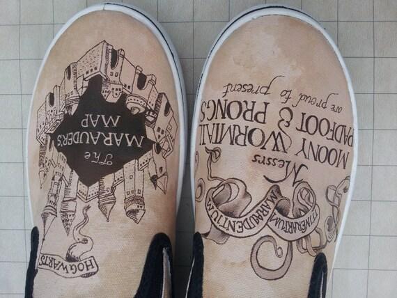 Custom Malowane Buty Harry Potter Na Mapie Etsy