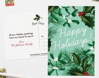 personalized christmas postcards holiday postcard set