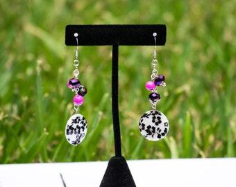 Floral Earrings, Dangle Earrings, Fuchsia Earrings, Flower Earrings, Dangle Earrings, Flower Jewelry, Bright Jewelry
