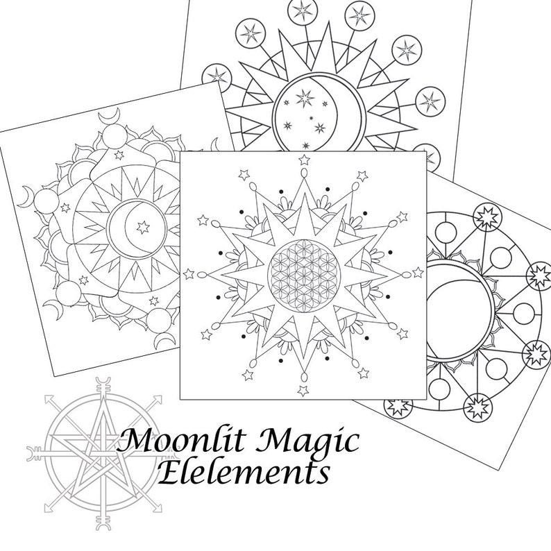 graphic regarding Printable Crystal Grid named Printable Solar and Moon Crystal Grid Pack