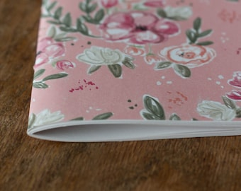 FREE SHIPPING!!! Pink Eclectic Rose Flower Journal Pamphlet Hand Stitched Handmade Notebook