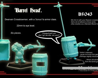 BarrelHead. 28mm Scale, Dwarven Crossbowman, Resin Gaming Mini. Warhammer. Tabletop Gaming. Dungeons & Dragons. Pathfinder.