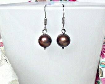 chocolate Freshwater Pearl earrings, sterling silver