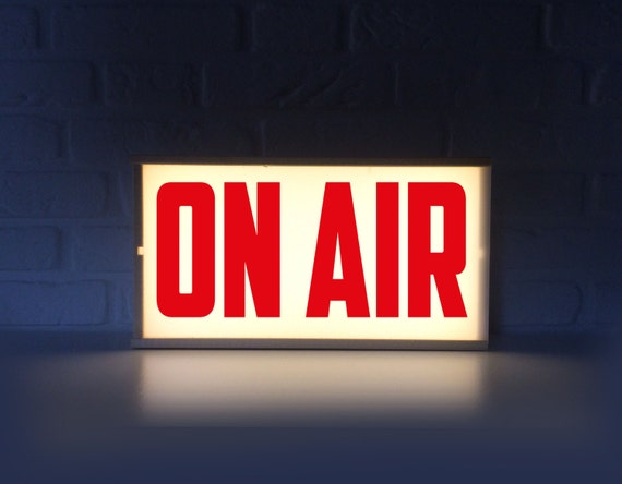 on air lighted sign on air sign with red letters lightbox etsy