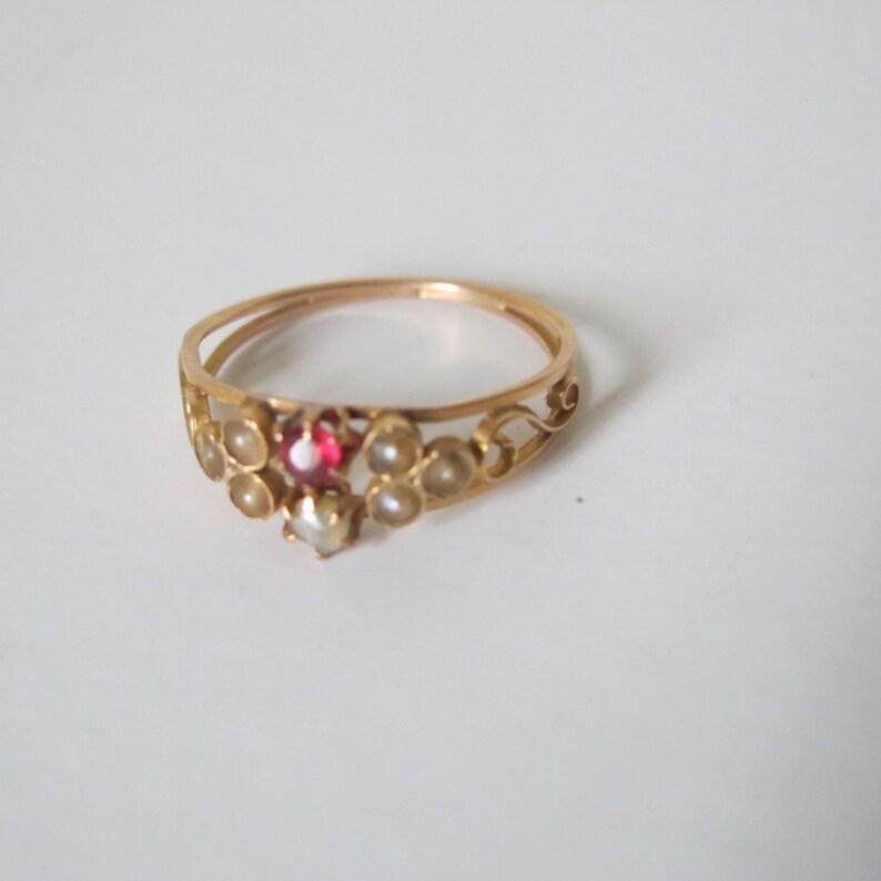 ed91fba9812a Rubis fino antiguo victoriano de 18 k oro y perlas anillo