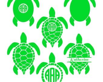 Sea Turtle Monogram SVG, Sea Turtle SVG, Sea Turtle Monogram, Turtle SVG Files, Turtle Silhouette, Dxf, Eps, Cricut Files, Commercial Use.