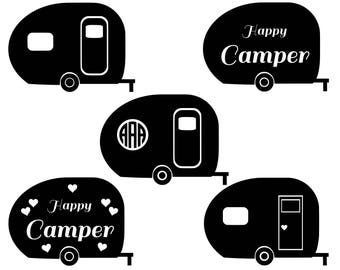 Camper SVG Cut Files Monogram Happy Camping Svg Silhouette Cutting File Summer Eps Dxf Png Vector